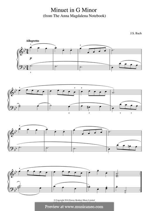No.5 Менуэт соль минор, BWV Anh.115: Для фортепиано by Иоганн Себастьян Бах