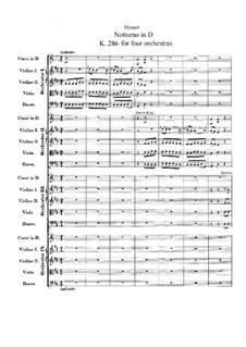 Ноктюрн для четырёх оркестров ре мажор, K.286: Партитура by Вольфганг Амадей Моцарт