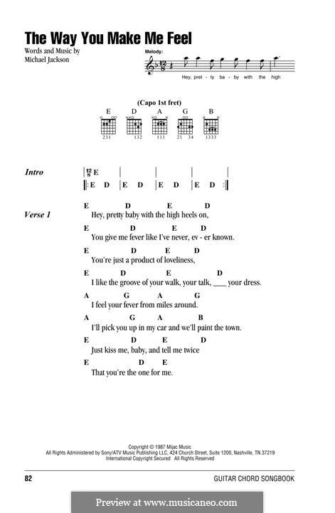 The Way You Make Me Feel: Текст, аккорды by Michael Jackson
