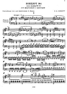 Концерт для фортепиано с оркестром No.4 соль мажор, K.41: Аранжировка для фортепиано в 4 руки by Вольфганг Амадей Моцарт