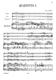 Квартет для фортепиано и струнных No.1 соль минор, K.478: Партитура, Партии by Вольфганг Амадей Моцарт