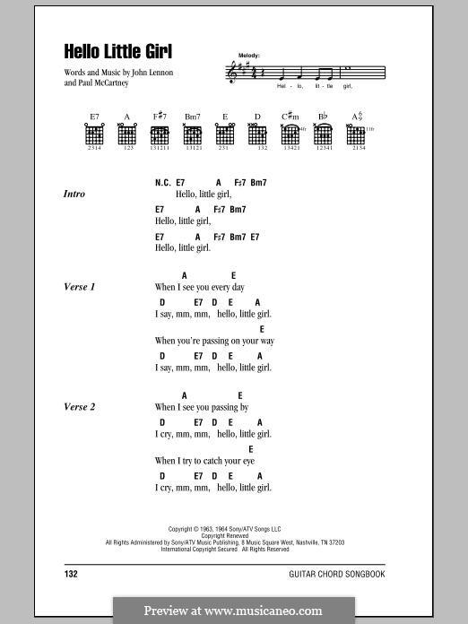 Hello Little Girl (The Beatles): Текст, аккорды by John Lennon, Paul McCartney
