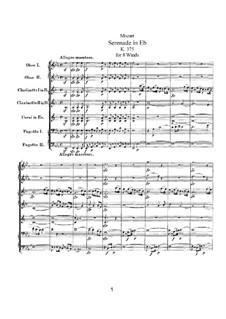 Серенада для духовых инструментов No.11 ми-бемоль мажор, K.375: Партитура by Вольфганг Амадей Моцарт