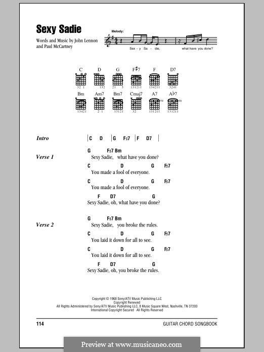 Sexy Sadie (The Beatles): Текст, аккорды by John Lennon, Paul McCartney