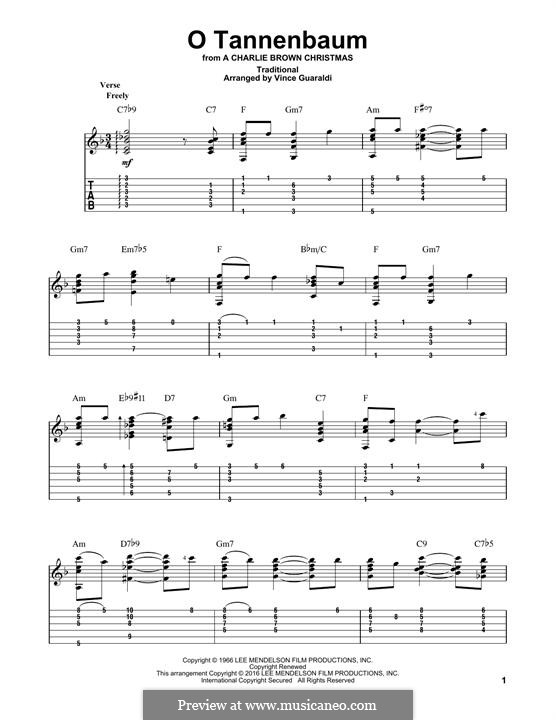 O Christmas Tree, (Printable Scores): Гитарная табулатура by folklore
