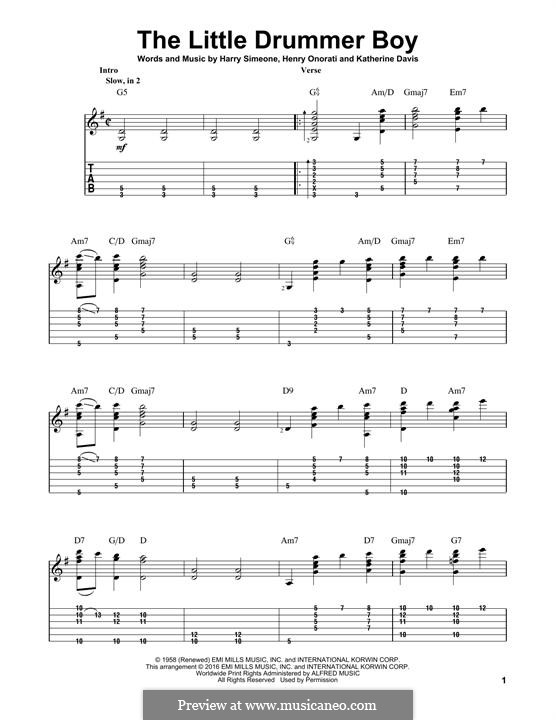 The Little Drummer Boy: For guitar with lyrics by Harry Simeone, Henry Onorati, Katherine K. Davis