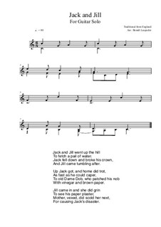 Jack and Jill: For guitar solo (C Major) by folklore