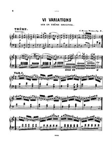 Вариации на оригинальную тему, J.7 Op.2: Для фортепиано by Карл Мария фон Вебер