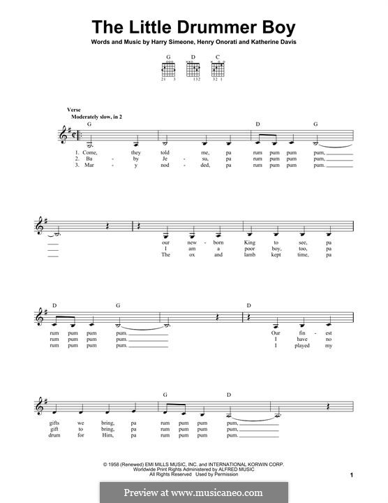 The Little Drummer Boy: For guitar with tab (G Major) by Harry Simeone, Henry Onorati, Katherine K. Davis