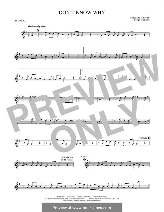Don't Know Why (Norah Jones): Для альтового саксофона by Jesse Harris