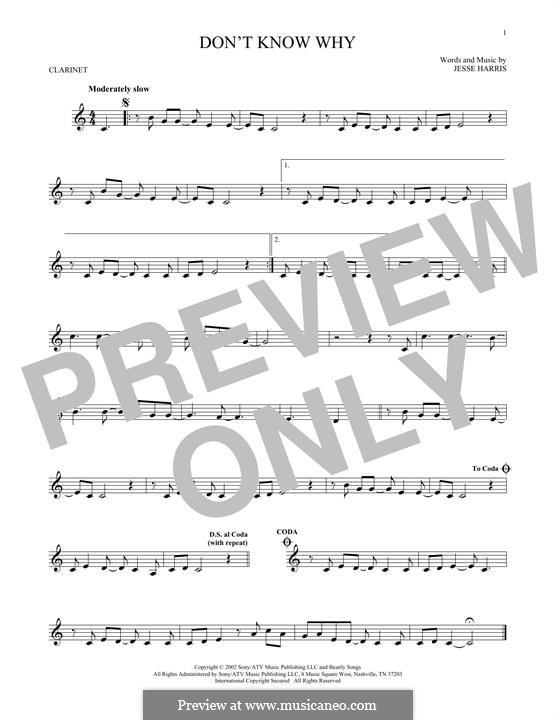 Don't Know Why (Norah Jones): Для кларнета by Jesse Harris