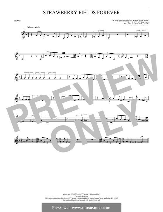 Strawberry Fields Forever (The Beatles): For horn by John Lennon, Paul McCartney