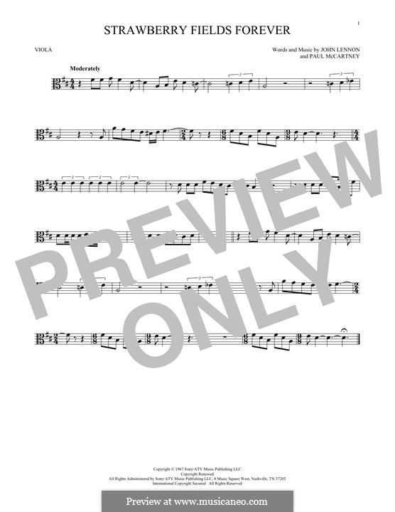 Strawberry Fields Forever (The Beatles): For viola by John Lennon, Paul McCartney