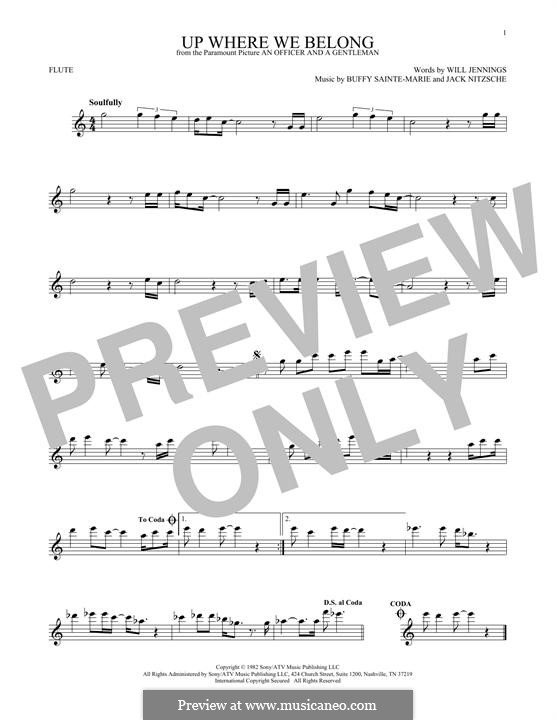 Up Where We Belong (Joe Cocker and Jennifer Warnes): Для флейты by Buffy Sainte-Marie, Jack Nitzsche, Will Jennings