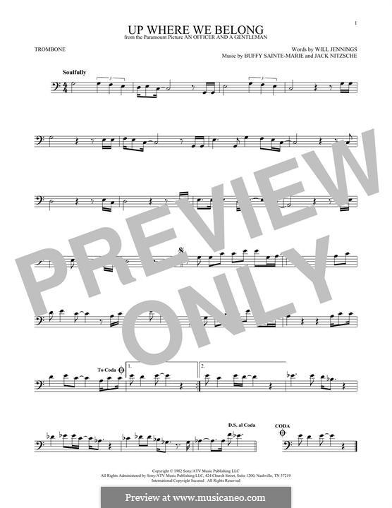 Up Where We Belong (Joe Cocker and Jennifer Warnes): For trombone by Buffy Sainte-Marie, Jack Nitzsche, Will Jennings