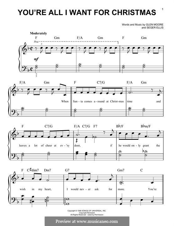 You're All I Want for Christmas (Brook Benton): Для фортепиано by Glen Moore, Seger Ellis