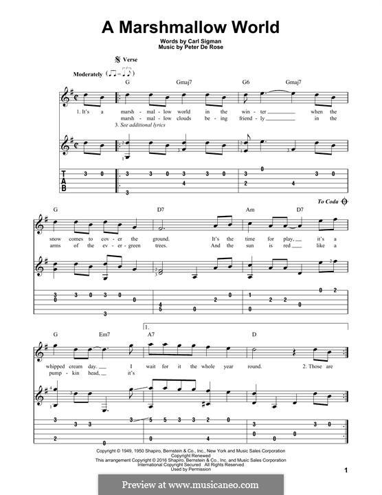 A Marshmallow World: Гитарная табулатура by Peter de Rose