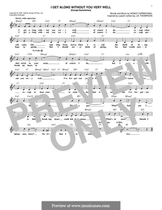 I Get Along Without You Very Well: Текст, аккорды by Hoagy Carmichael
