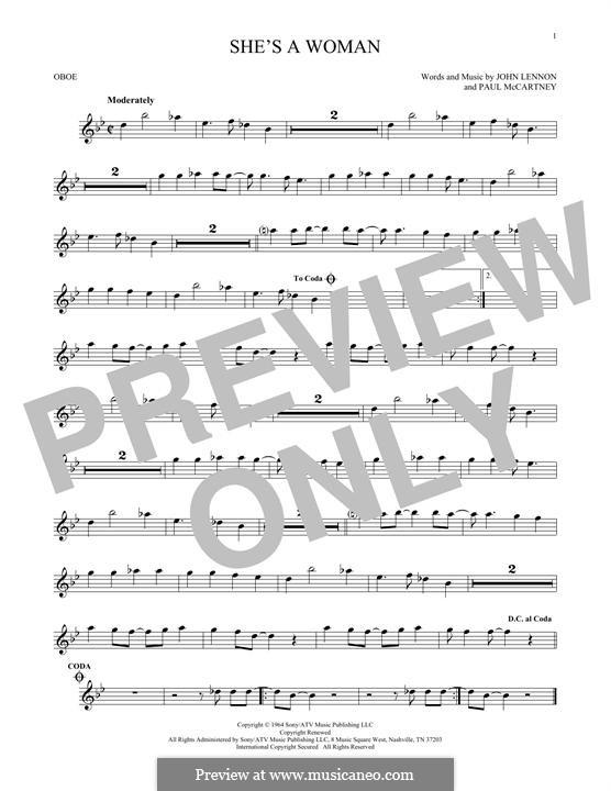 She's a Woman (The Beatles): For oboe by John Lennon, Paul McCartney