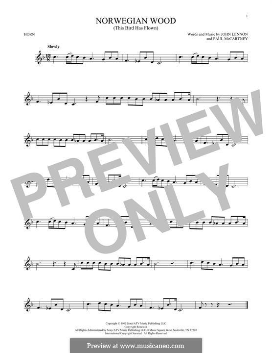 Norwegian Wood (This Bird Has Flown): For horn by John Lennon, Paul McCartney