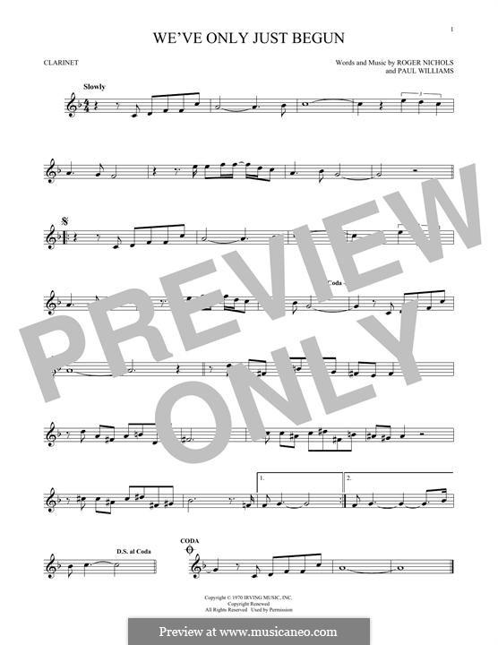 We've Only Just Begun (Carpenters): Для кларнета by Paul H. Williams, Roger Nichols