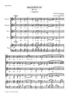 Magnificat in G minor, RV611: SA solo, SSAA choir and small orchestra – vocal score by Антонио Вивальди