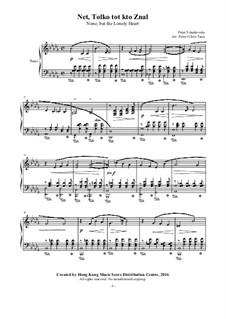 Шесть романсов, TH 93 Op.6: No.6 None But the Lonely Heart, for piano by Петр Чайковский