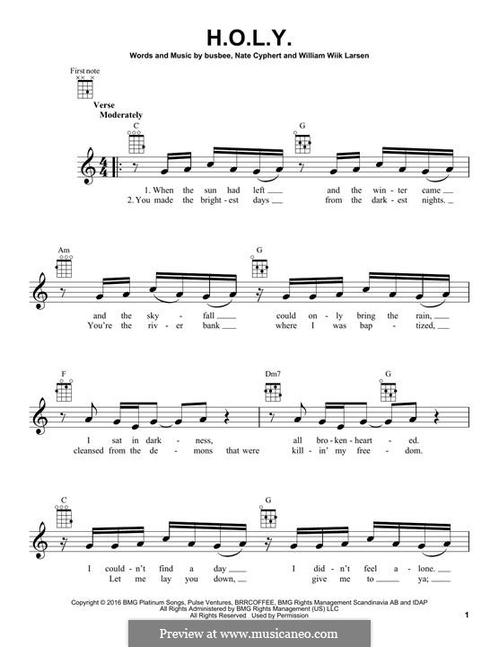 H.O.L.Y. (Florida Georgia Line): Для укулеле by Busbee, William Larsen, Nate Cyphert