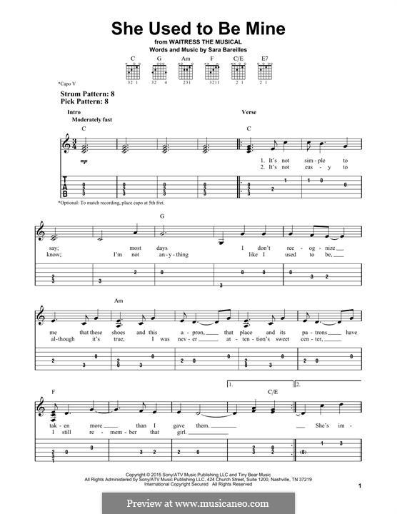 She Used To Be Mine: Гитарная табулатура by Sara Bareilles
