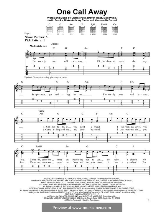 One Call Away: Гитарная табулатура by Justin Franks, Matthew Prime, Shy Carter, Breyan Isaac, Maureen McDonald, Charlie Puth