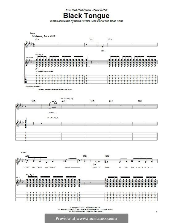 Black Tongue (Yeah Yeah Yeahs): Гитарная табулатура by Brian Chase, Karen O, Nicholas Zinner