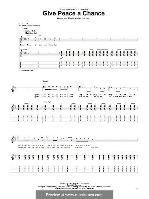 Give Peace a Chance: Гитарная табулатура by John Lennon, Paul McCartney