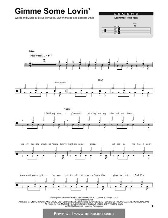 Gimme Some Lovin' (The Spencer Davis Group): Drum set by Muff Winwood, Spencer Davis, Steve Winwood