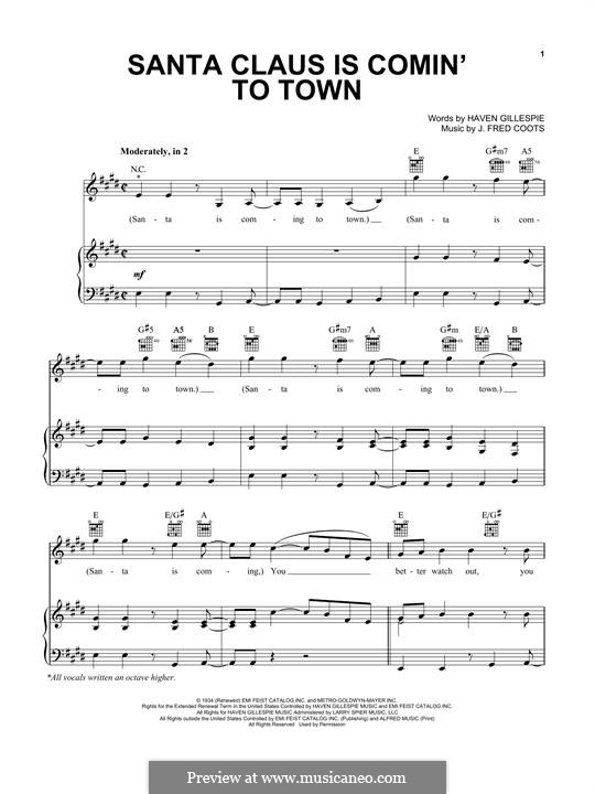 Santa Claus is Comin' to Town: For voice and piano or guitar (Pentatonix) by J. Fred Coots