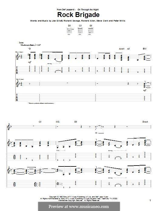 Rock Brigade (Def Leppard): Гитарная табулатура by Joe Elliott, Peter Willis, Richard Allen, Richard Savage, Steve Clark