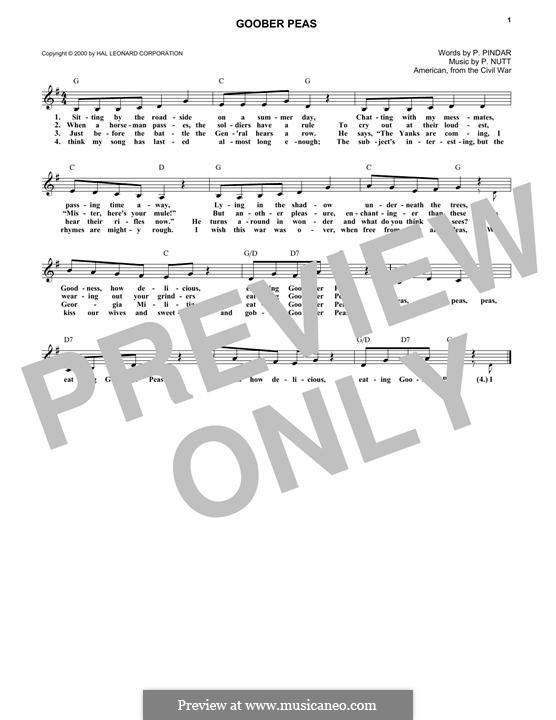 Goober Peas: Текст, аккорды by P. Nutt