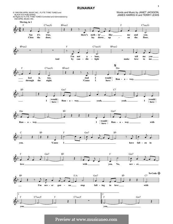 Runaway (Janet Jackson): Текст, аккорды by James Samuel Harris III, Terry Lewis