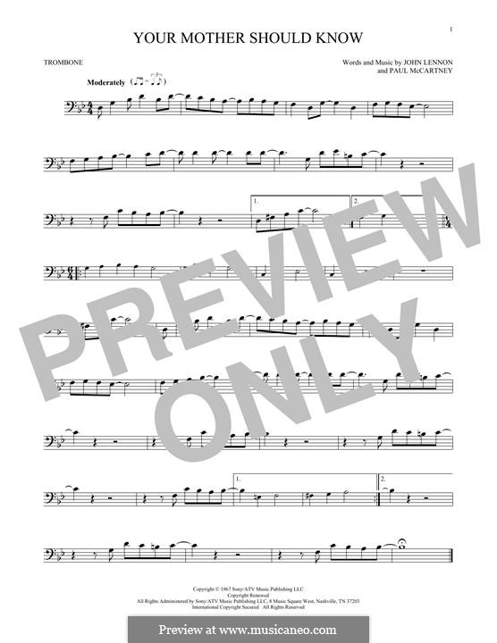 Your Mother Should Know (The Beatles): For trombone by John Lennon, Paul McCartney