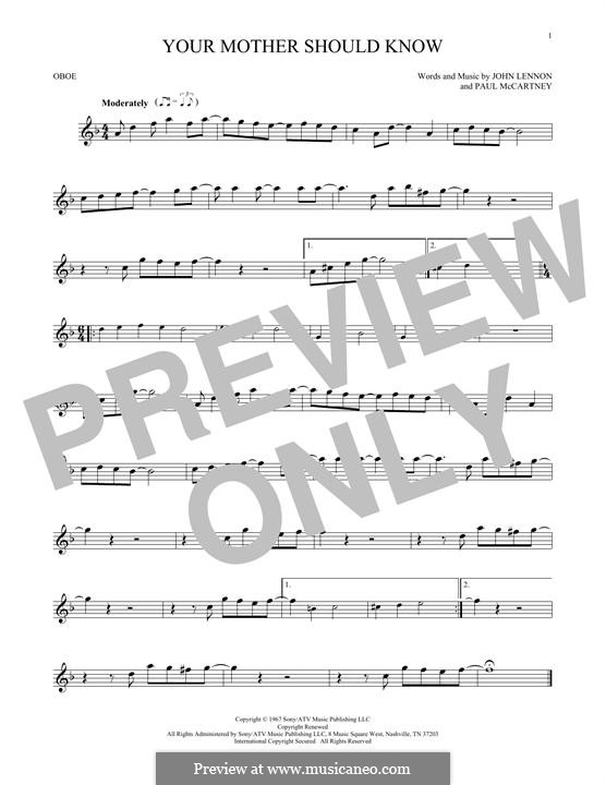 Your Mother Should Know (The Beatles): For oboe by John Lennon, Paul McCartney
