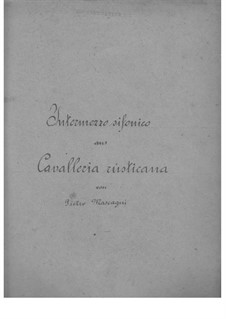 Сельская честь: Intermezzo, for mandolin, mandola and guitar by Пьетро Масканьи