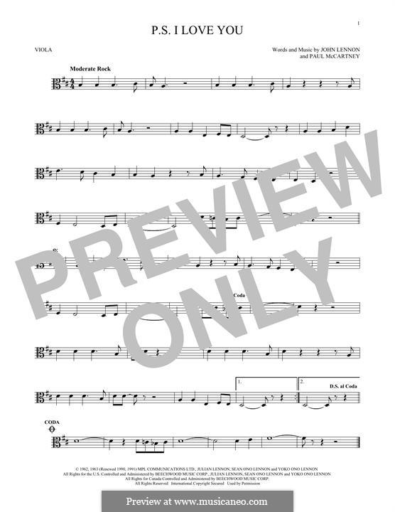 P.S. I Love You (The Beatles): For viola by John Lennon, Paul McCartney
