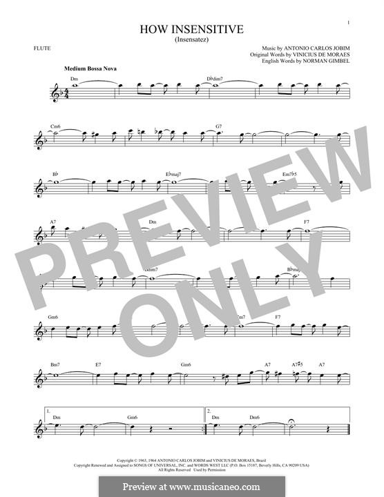 How Insensitive (Insensatez): Для флейты by Antonio Carlos Jobim