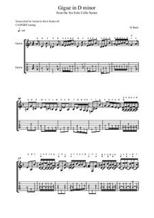 Сюита для виолончели No.2 ре минор, BWV 1008: Gigue. Version for guitar by Иоганн Себастьян Бах