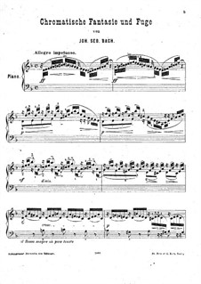 Хроматическая фантазия и фуга ре минор, BWV 903: Переложение для фортепиано Г. Бюлова by Иоганн Себастьян Бах