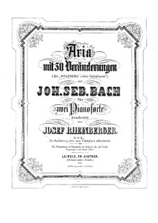 Вариации Гольдберга, BWV 988: Аранжировка для 2 фортепиано в 4 руки by Иоганн Себастьян Бах