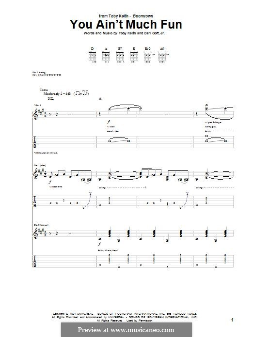 You ain't Much Fun: Гитарная табулатура by Toby Keith