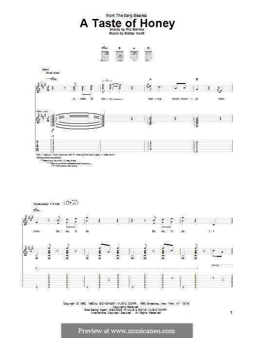 A Taste of Honey (Barbra Streisand): Гитарная табулатура by Bobby Scott