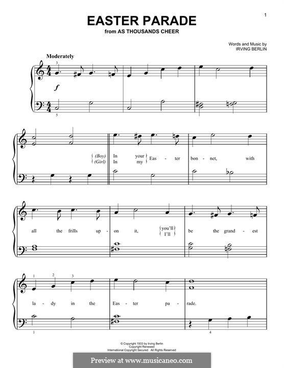 Easter Parade: Для фортепиано by Ирвинг Берлин