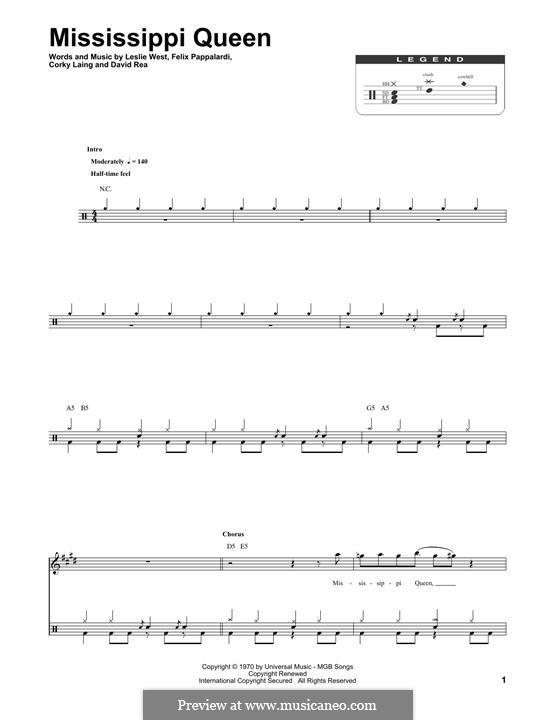 Mississippi Queen (Mountain): Drum set by Corky Laing, David Rea, Felix Pappalardi, Leslie West