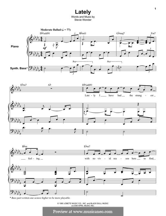Lately: Для голоса и фортепиано (или гитары) by Stevie Wonder